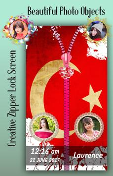 Turkey Flag Zipper Lock Screen screenshot 2