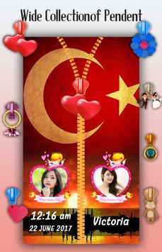 Turkey Flag Zipper Lock Screen screenshot 4