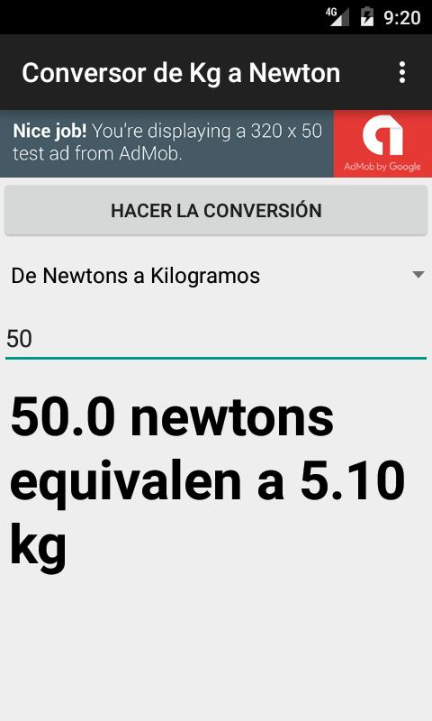 Conversor de Kilogramos (kg) a Newtons (N) for Android - APK Download