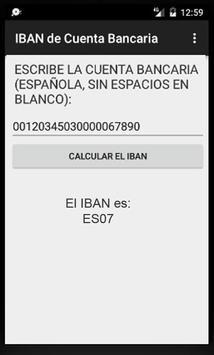 Calcula el IBAN de una Cuenta Bancaria española apk screenshot