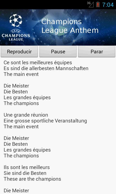 Champions League Anthem for Android - APK Download