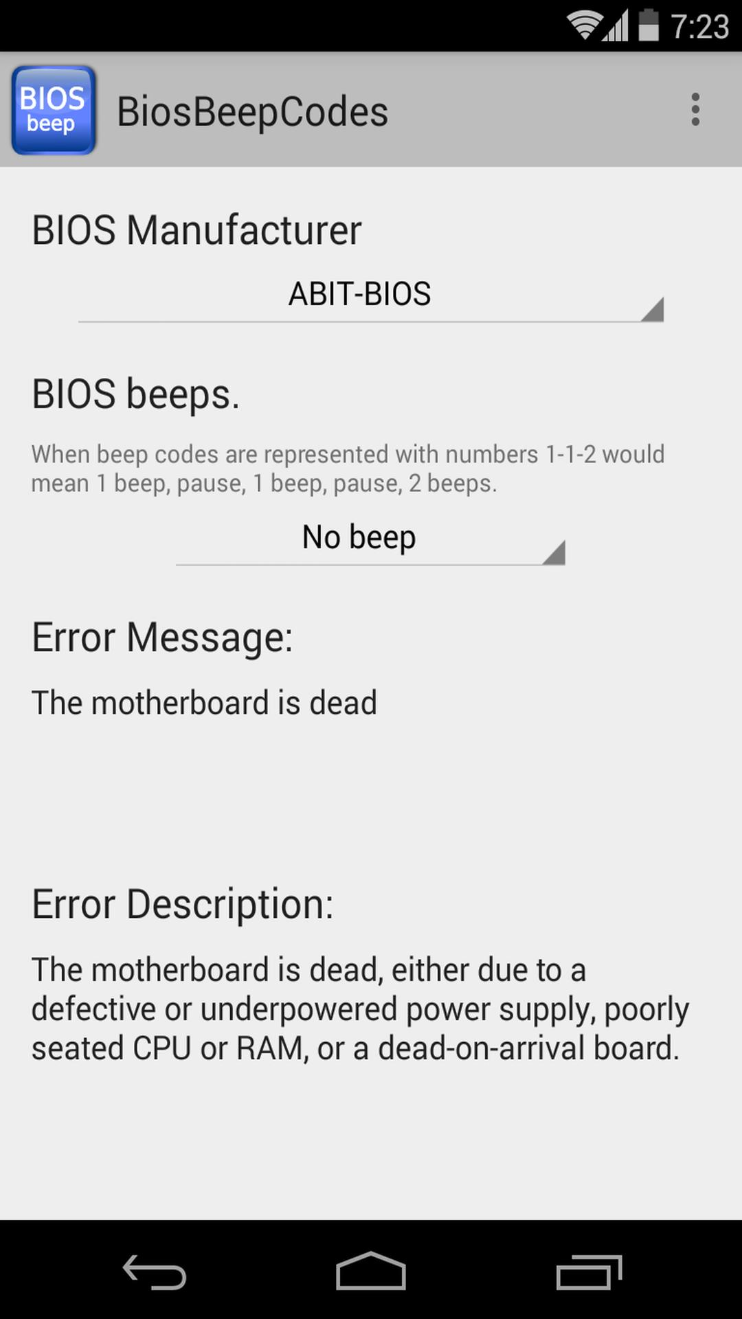 BIOS Beep computer error codes for Android - APK Download