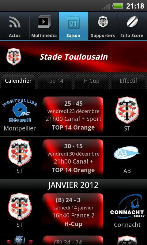 Calendrier H Cup.Officiel Stade Toulousain For Android Apk Download