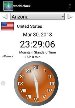 World clock (+Time difference calculation) screenshot 1