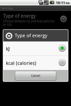 Fat Energy Calculator apk screenshot