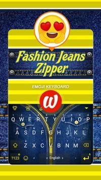 Fashion Jeans Zipper Theme&Emoji Keyboard poster
