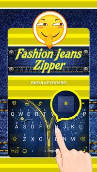 Fashion Jeans Zipper Theme&Emoji Keyboard apk screenshot