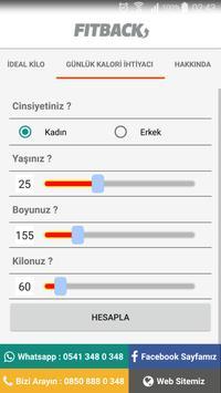 FITBACK İdeal Kilo Hesaplama screenshot 3