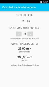 Calculadora de Aleitamento apk screenshot
