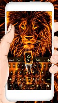 fire lion keyboard flaming beast lightning poster