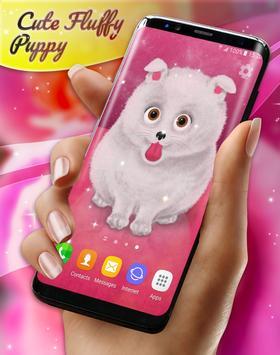 Cute Fluffy Puppy Live Wallpaper poster