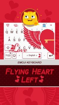 Flying Heart Left Theme&Emoji Keyboard poster