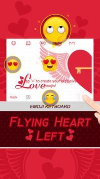 Flying Heart Left Theme&Emoji Keyboard apk screenshot