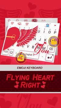 Flying Heart Right Theme&Emoji Keyboard poster