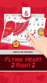 Flying Heart Right Theme&Emoji Keyboard apk screenshot