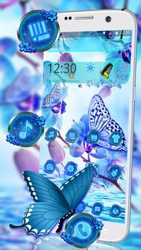 Blue Flower Butterfly Theme poster
