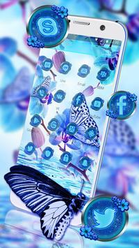 Blue Flower Butterfly Theme apk screenshot