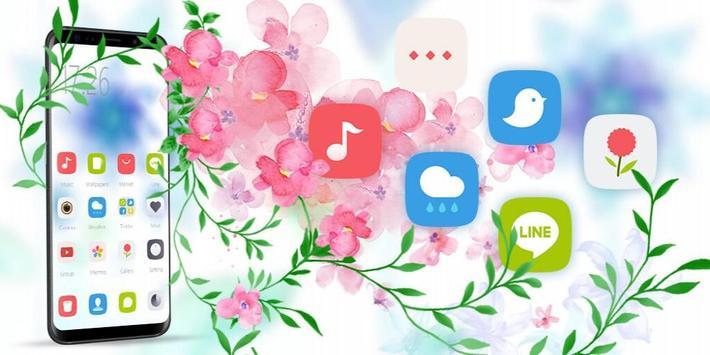 Blue White Flower theme apk screenshot