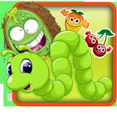 Green fruit worm icon