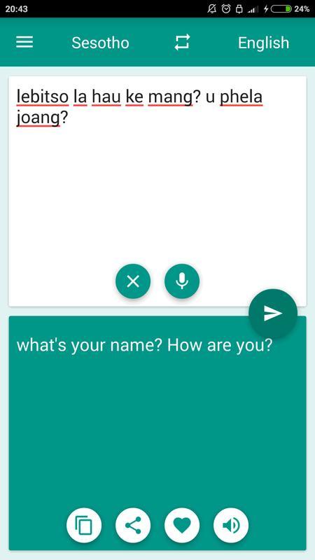 Translator Italian: Sesotho-English Translator Para Android