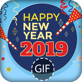 New Year GIF 2019 icon