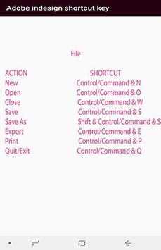 Adobe indesign cc shortcut key screenshot 2