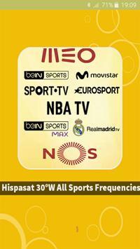 Hispasat 30°W Sports CH Freq. poster