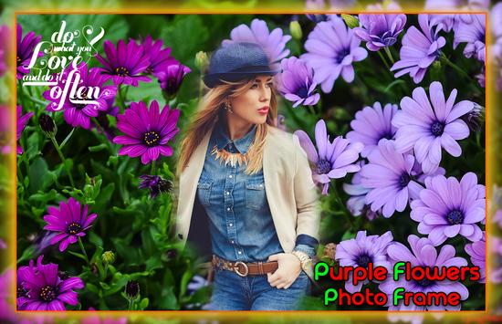 Purple Flower Photo Frames पोस्टर