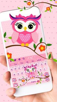 Cute Pink Owl Keyboard Theme poster