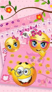 Cute Pink Owl Keyboard Theme apk screenshot