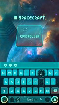 cyan green space future keyboard galaxy tech poster
