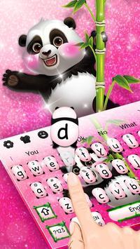 Adorable Pink Glitter Panda Keyboard Theme poster
