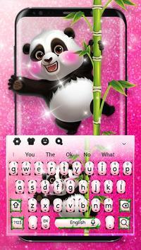 Adorable Pink Glitter Panda Keyboard Theme screenshot 1