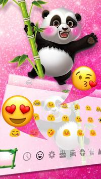 Adorable Pink Glitter Panda Keyboard Theme screenshot 2