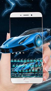 Blue Lightning Cool Car poster
