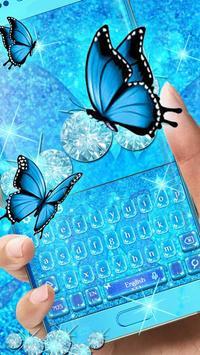 Blue Glitter Butterfly poster