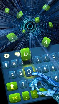 eco green blue keyboard future time travel poster