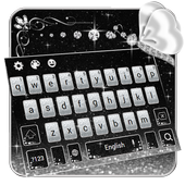 black silver keyboard shining butterfly diamond icon