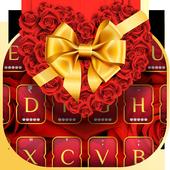 Gold  Rose Heart Keyboard Theme icon