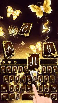 Gold Butterfly Keyboard Theme poster
