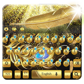 gold feather keyboard luxury golden mask icon