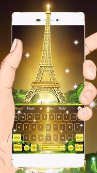 Golden Paris Keyboard Theme poster