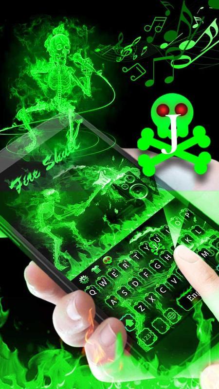 Green Fire Skull Keyboard Apk Download Free Personalization App