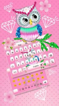 Diamond Cute Owl Keyboard poster