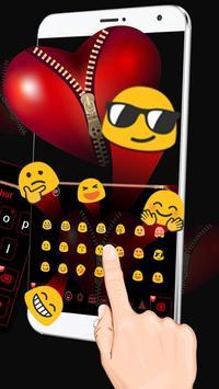Red Zipper Heart Keyboard apk screenshot