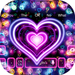 3D Neon Hearts Keyboard APK