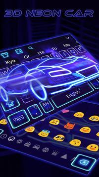 3D Blue Neon Sports Car Keyboard Theme poster