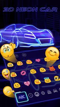 3D Blue Neon Sports Car Keyboard Theme screenshot 1