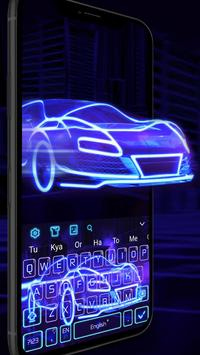 3D Blue Neon Sports Car Keyboard Theme screenshot 2