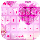 Pink Diamond Heart Rose Keyboard tema wallpaper icon